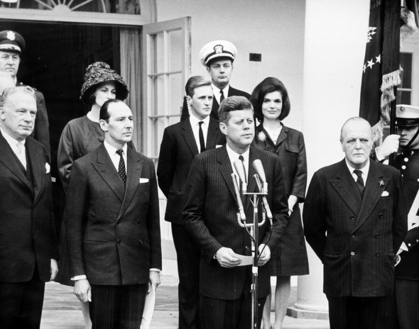 Ceremony Making Winston Churchill Honorary U.S. Citizen. Randolph Churchill Represents his Father - 1963