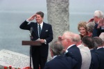 President Ronald Reagan salutes during a ceremony commemorating the 40th anniversary of D-day, the invasion of Europe.